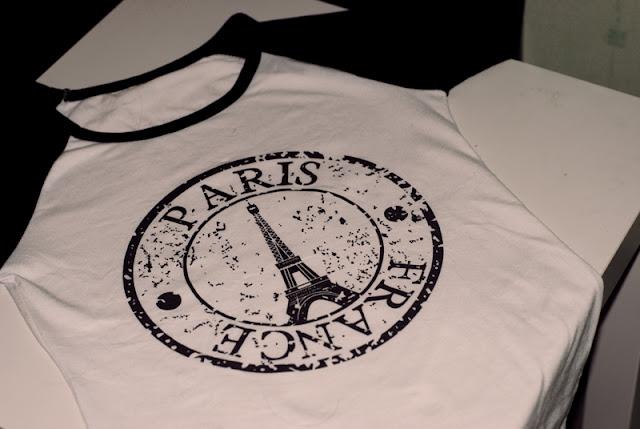Paris, shirt, longsleave, black, white, koszulka, bluzka, czarne rękawy, długie, paryż