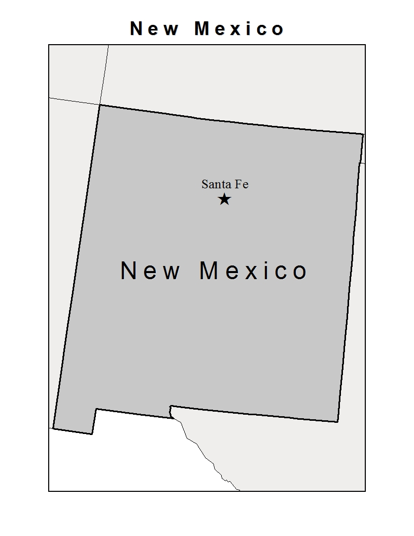 this is a map showing the state of new mexico with its capital santa fe identified with a star the colors are done in grayscale with new mexico being a