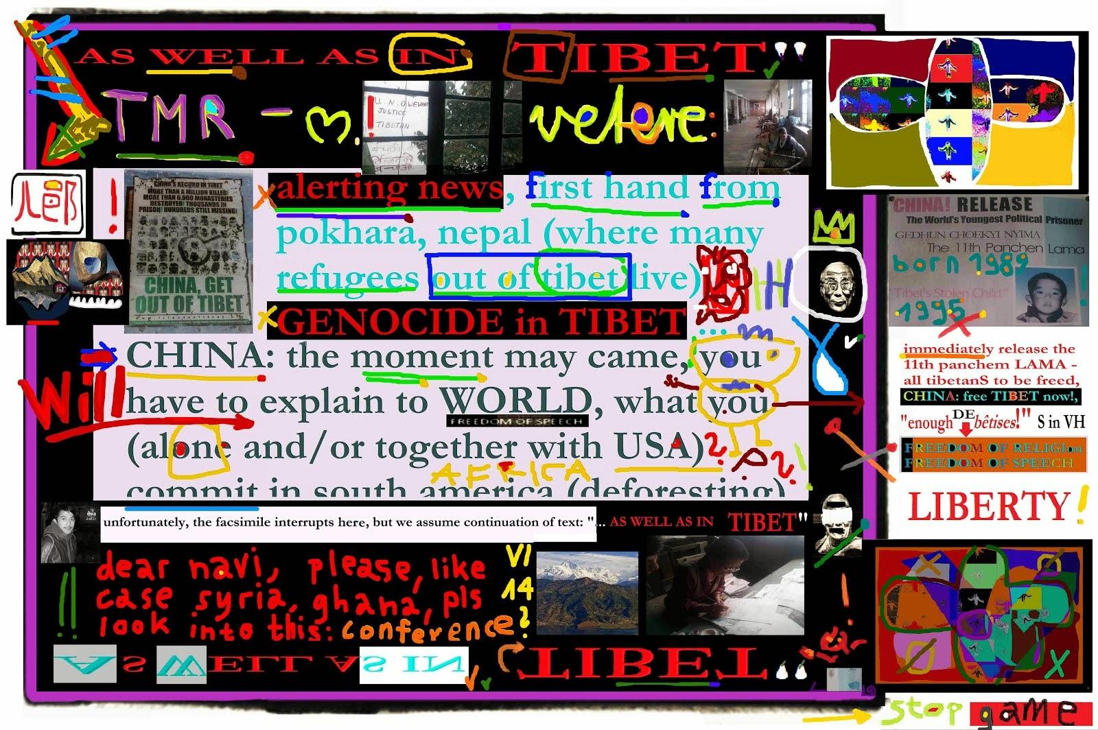 GENOCIDE in TIBET NAVI PILAY UN USA CHINA dalai lama 11th panchem lama mischa vetere LIBERTY
