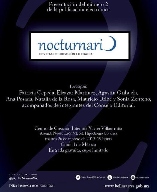 """Presentación de la publicación electrónica """"Nocturnario"""" en el CCL Xavier Villaurrutia"""