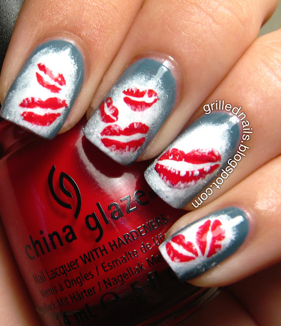 smooches grilled nails grillednails art nail hector alfaro china glaze red lips sponging nailartfeb californails challenge february 2013