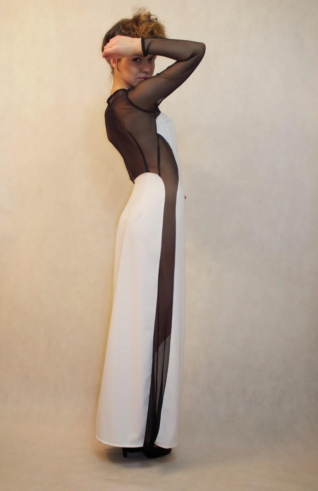 suknia, sukienka maxi, biało-czarna sukienka, prześwitująca sukienka, MARACHIC, młodzi projektanci, elegancka suknia, odzież dla charakternych, nowa marka odzieżowa