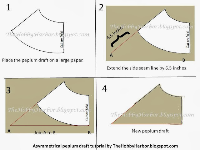 A free pattern drafting tutorial on how to draft an asymetrical peplum. This gives a very stylish look to any top or dress. Simple and easy tutorial on pattern drafting
