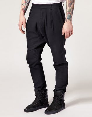 Pleated Fold Drop Crotch Trousers