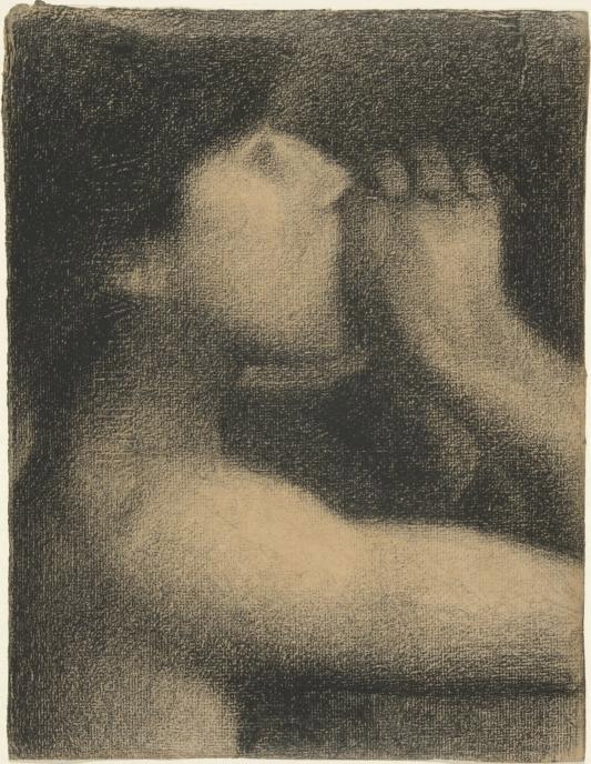 L'Écho, study for Une Baignade, Asnières (Bathing Place, Asnières). Conté crayon on Michallet paper. 31.2 × 24 cm