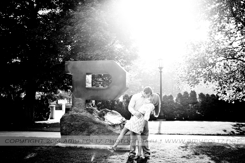 engagement photo at Block P at Purdue University in West Lafatette, Indiana