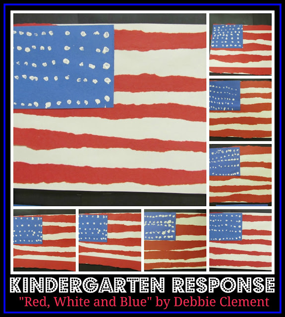 photo of: American Flag Collage of Kindergarten Art Work in Construction Paper