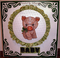 Piglet card for a little baby, created by Beccy