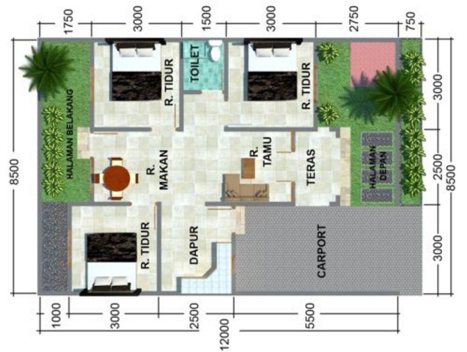 contoh denah rumah 3 kamar tidur 1 lantai yang bagus