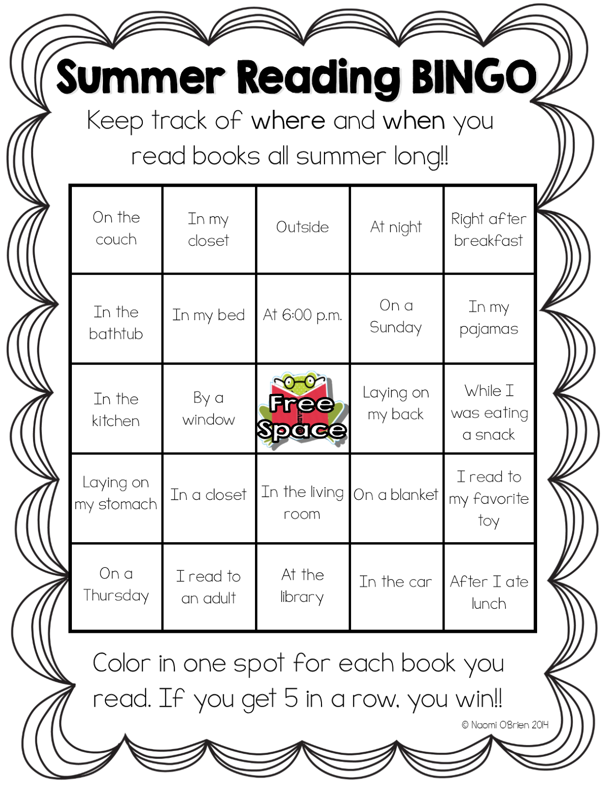 Read like a rock star summer reading bingo freebie for Summer reading log template