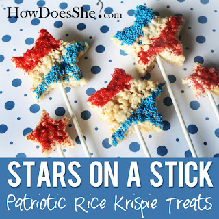 Stars on a Stick Rice Krispie Treats by How Does She?