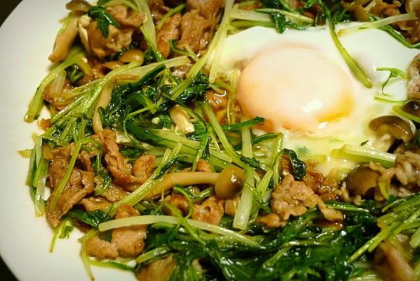 水菜と豚コマ肉の炒め