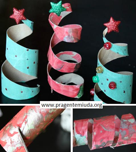 Árvore de natal com espiral de rolo de papel higiênico