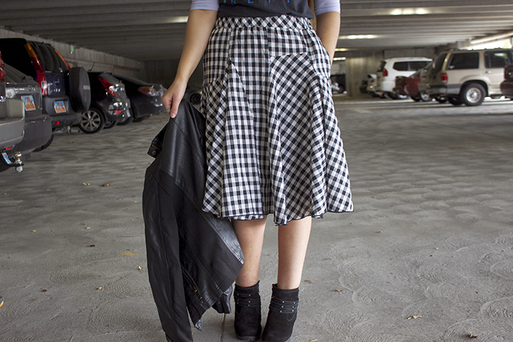 checkered plaid midi skirt