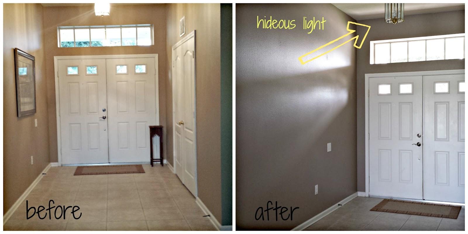 Painting Entryway balancing act: paint till you drop!