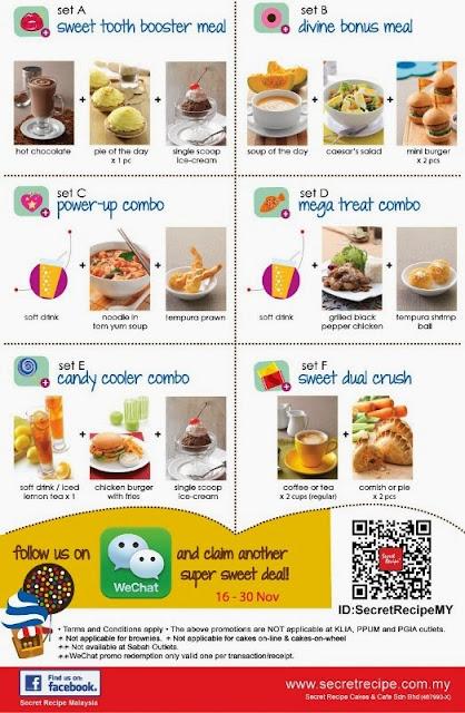 Secret Recipe Malaysia Joins WeChat, Secret Recipe Malaysia, WeChat Malaysia, Secret Recepi Sweet 16 Anniversary, sweet combo set meal