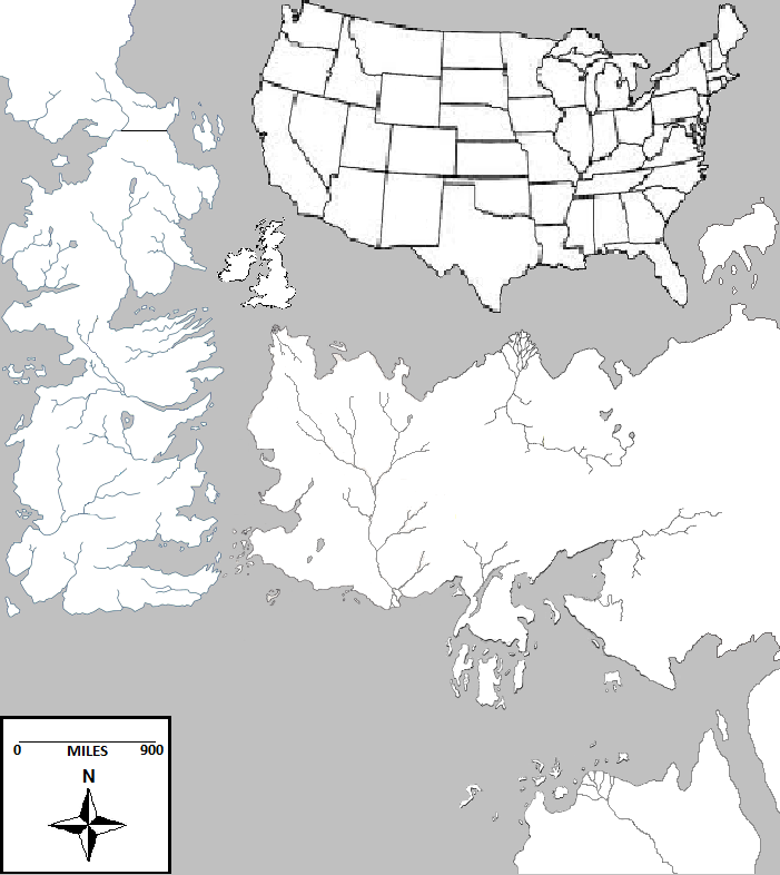 How Long Would It Take To Drive From Winterfell To Kings Landing - Us map with scale of miles