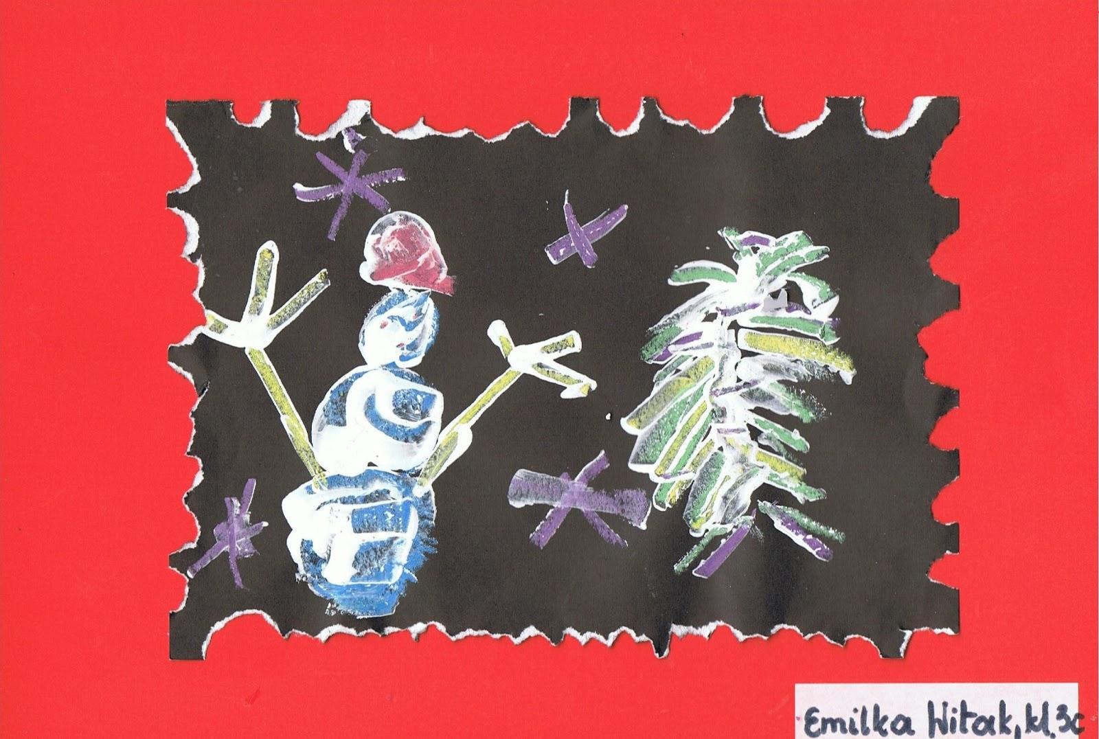 Zimowe Obrazki   Malowanie Kred   I Bi A     Farb
