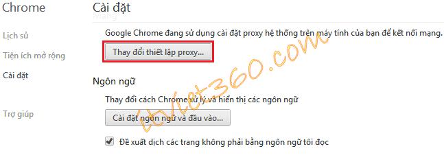 Thay đổi thiết lập Proxy