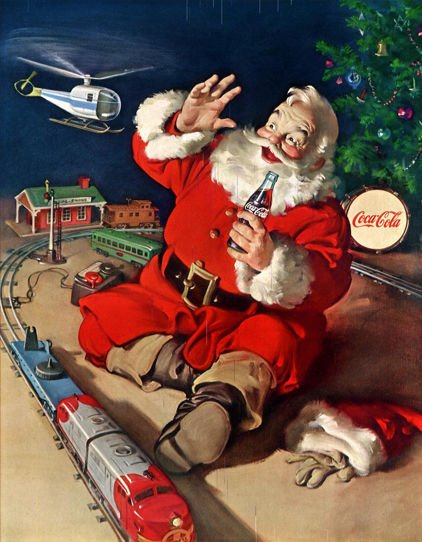 Santa Claus tomando Coca Cola