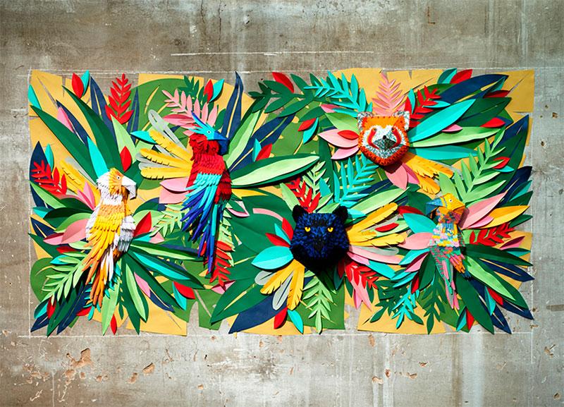 Mlle Hipolyte recrea una selva tropical con pedazos de papel