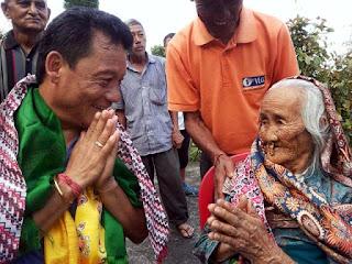 Bimal gurung with 101 year old Vishnu Maya Gurung in lower lopchu