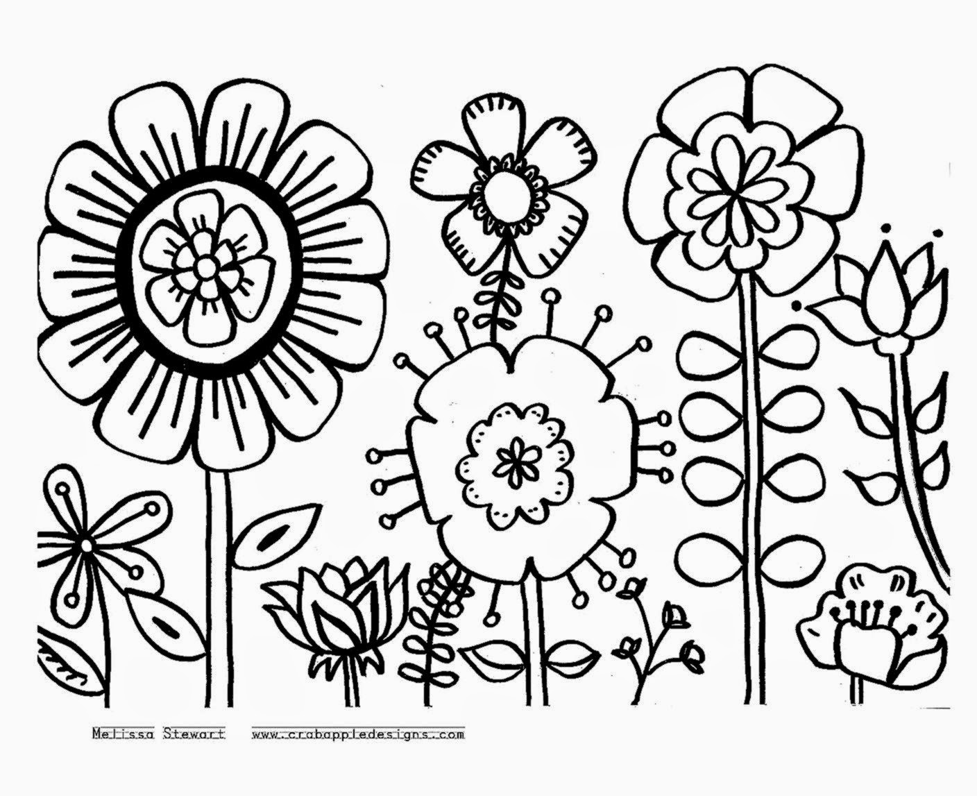 Flowers coloring sheets free coloring sheet for Large printable coloring pages