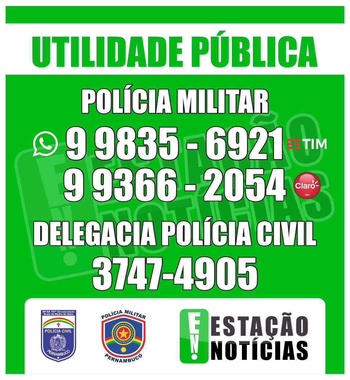 CONTATO DA POLÍCIA