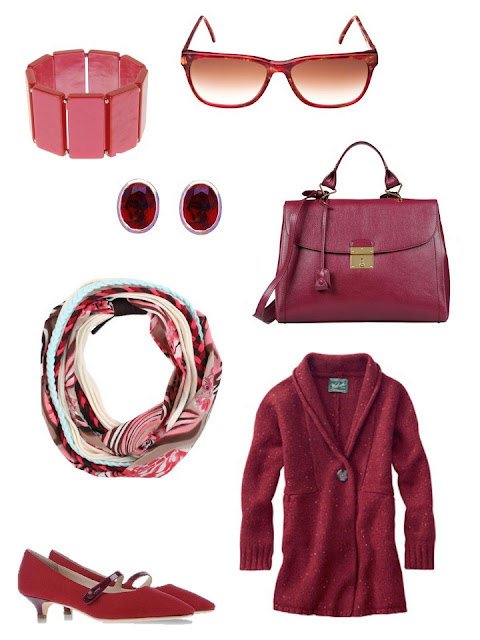 deep ruby red accessory family with cardigan, pumps, scarf, bag and jewelry