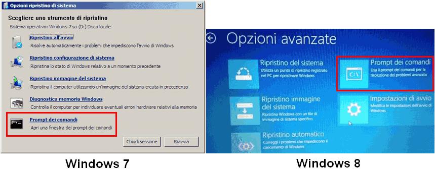 Opzioni ripristino sistema prompt comandi Windows 7 e 8