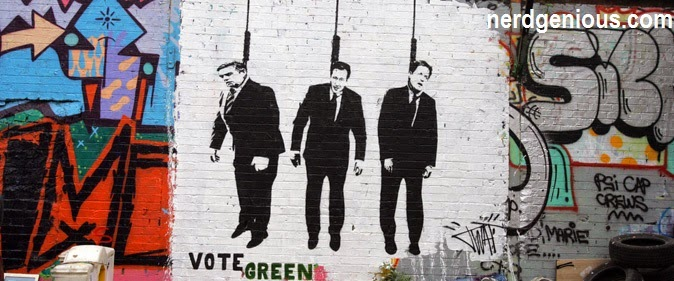 Artist Banksy says Vote Green