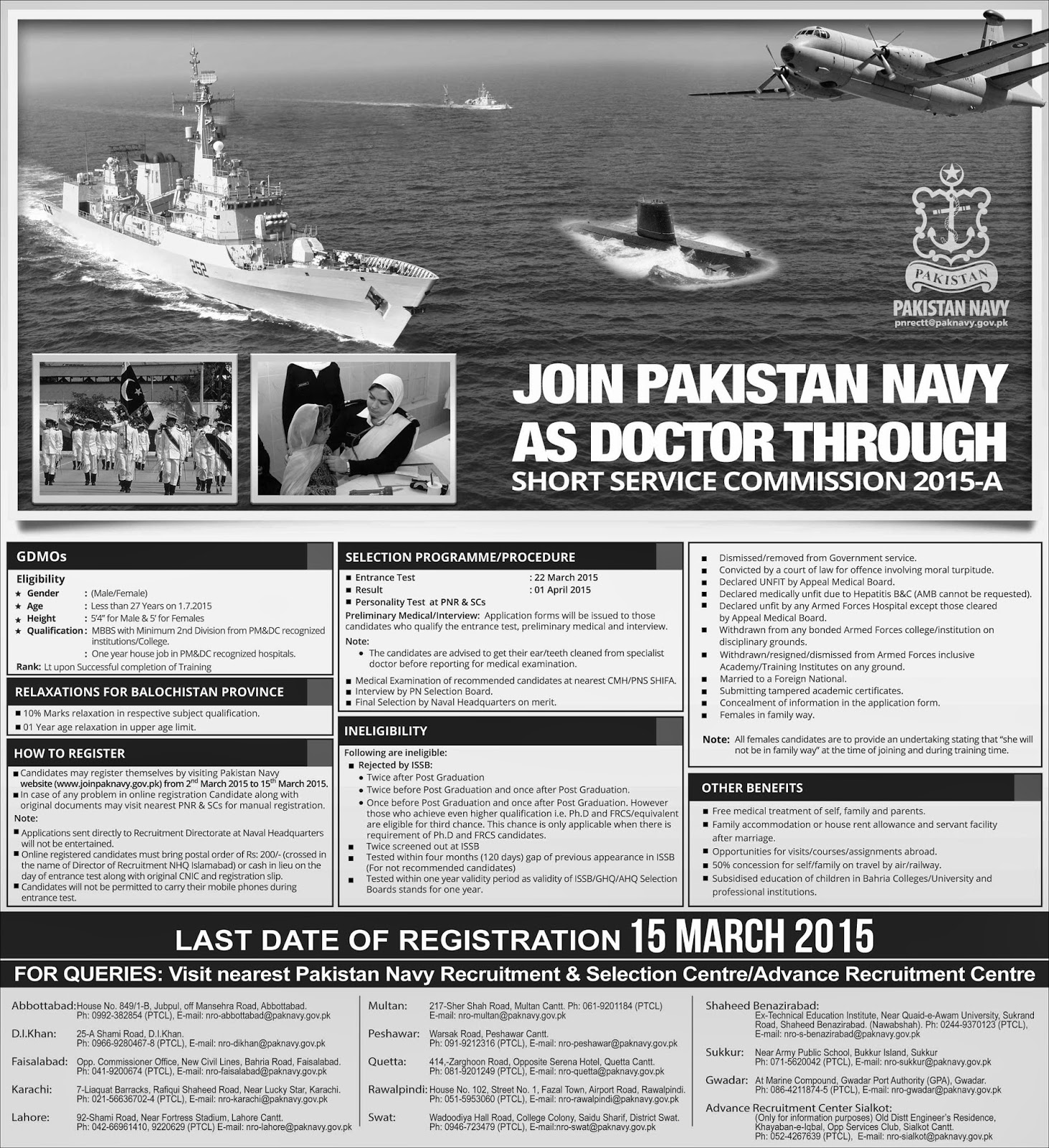 Join Pak Navy as Doctor