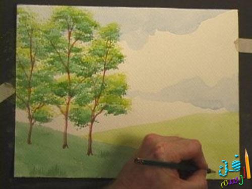 رسم منظر طبيعي بسيط بالالوان المائيه