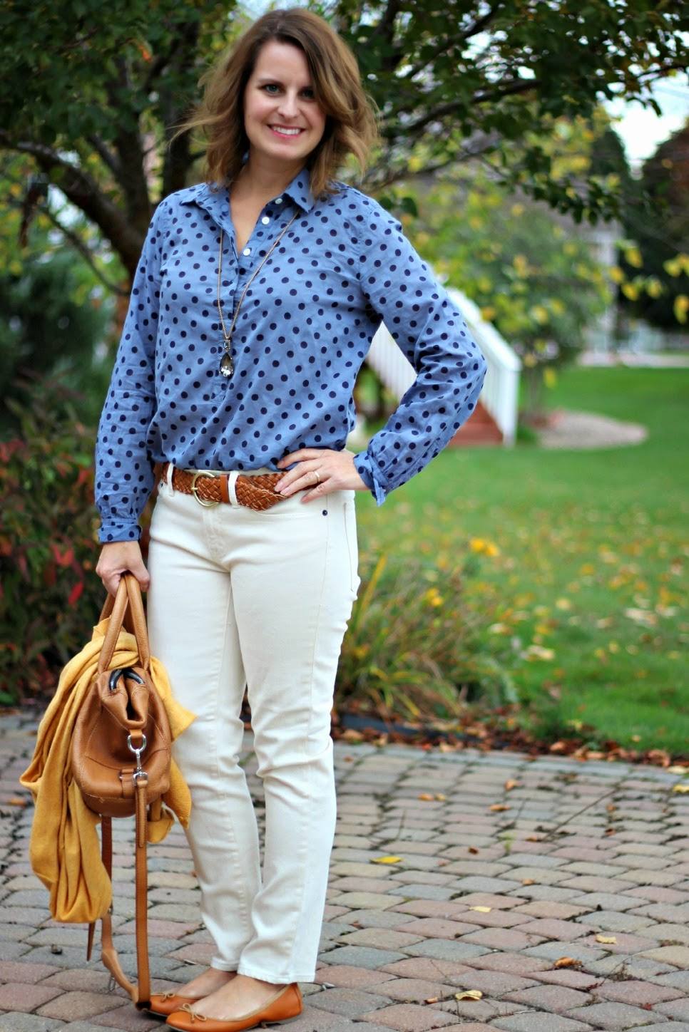 J Crew Factory polka dot popover, cream jeans, cogac belt, flats, purse, fall outfit