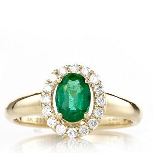 QVC emerald and diamond cluster ring