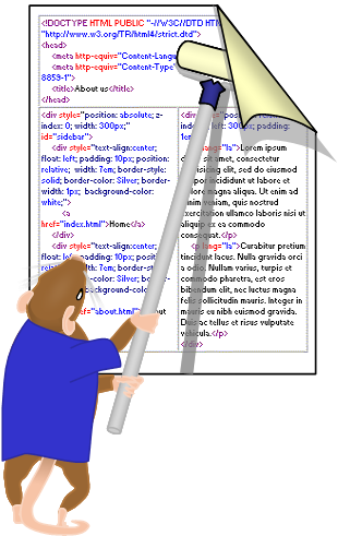 Image: Frank-the-mouse glues a poster to a wall using a long-handled paint roller. The poster is divided like a web page layout, each area of the layout contains a sample of the HTML code to generate it.