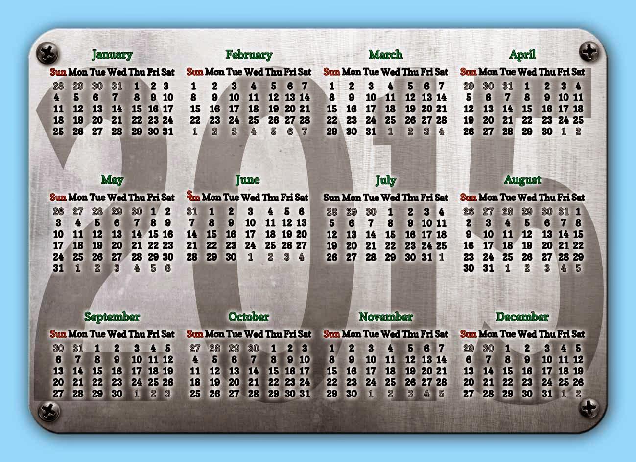 Placa metálica conteniendo un calendario 2015 en idioma inglés