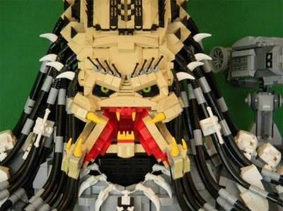 scary alien head made of Legos