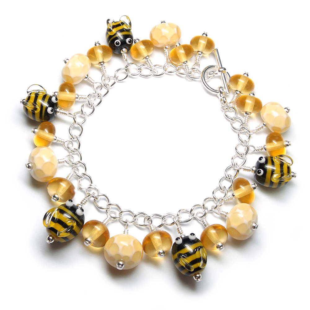 Lampwork glass bee beads 'Honey' bracelet by Laura Sparling