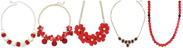Liz Claiborne Silver Tone Red Hammered Square Collar Necklace $12.99 (regular $30.00)  Style&Co Gold tone Bead and Disc Cluster Frontal Necklace $14.25 (regular $28.50)  FAF Incorporated Statement Necklace $16.99  Napier All That Jazz Gold Tone and Red Oval Petite Frontal Necklace $19.42 (regular $24.00)  Miss KL Domo Beads Premium Red Crackle Necklace $25.99 (regular $36.00)
