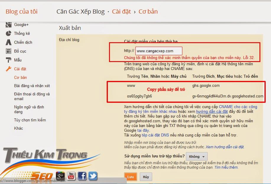Cách trỏ domain mua ở Godaddy về Blogspot