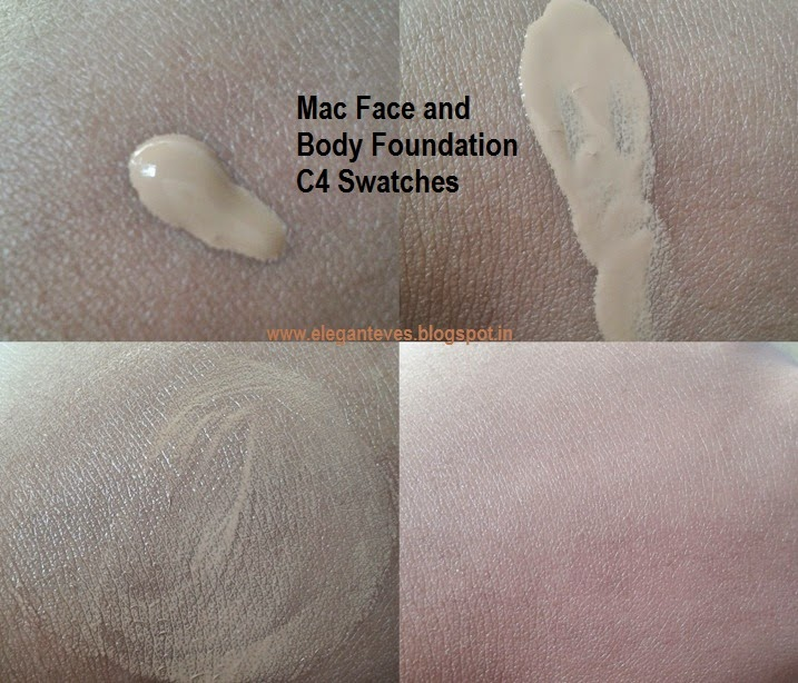 Swatches of MAC Face and Body Foundation in shade C4
