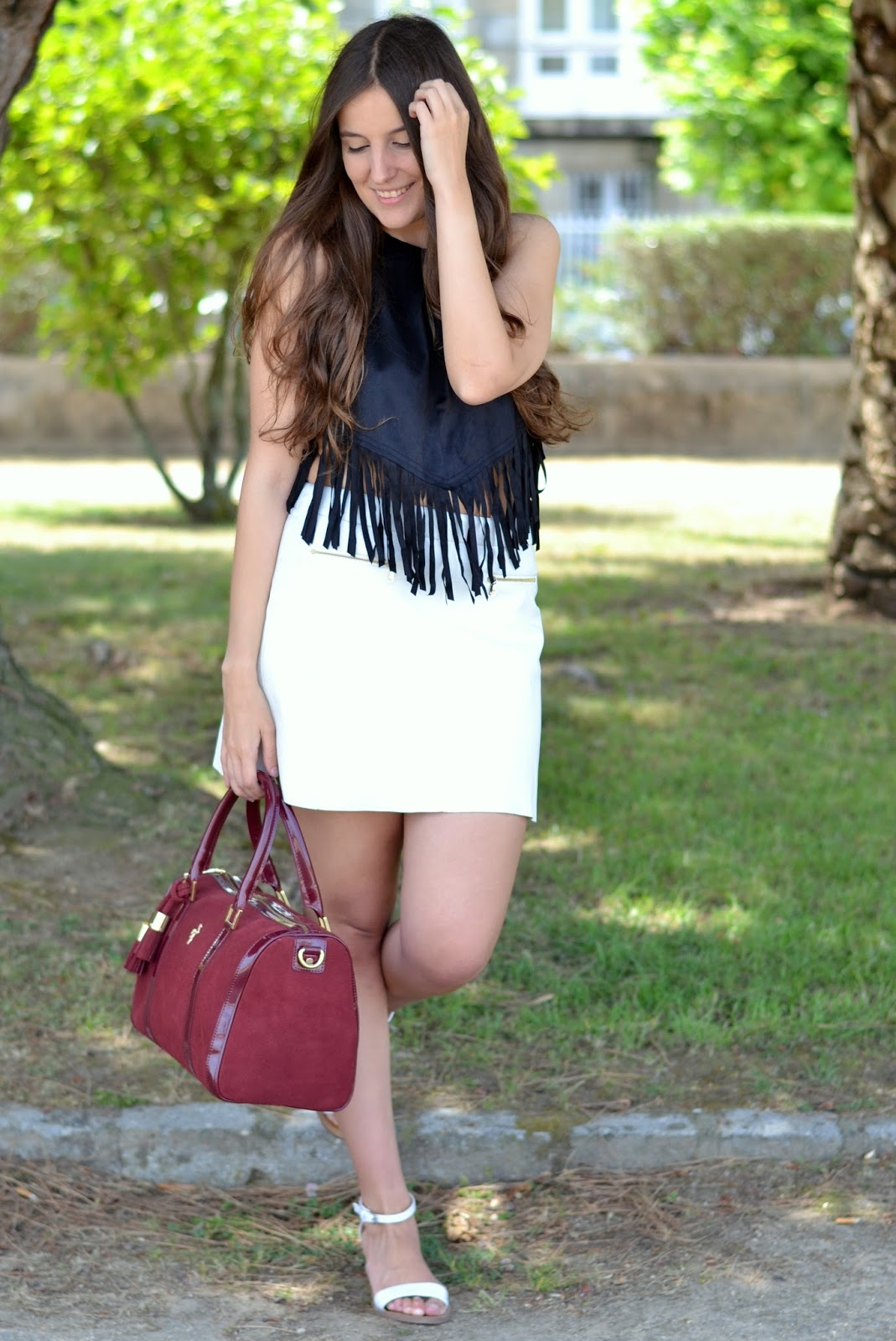 outfits shein fringe top