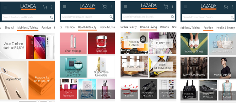 Lazada Mobile App New Category Tabs