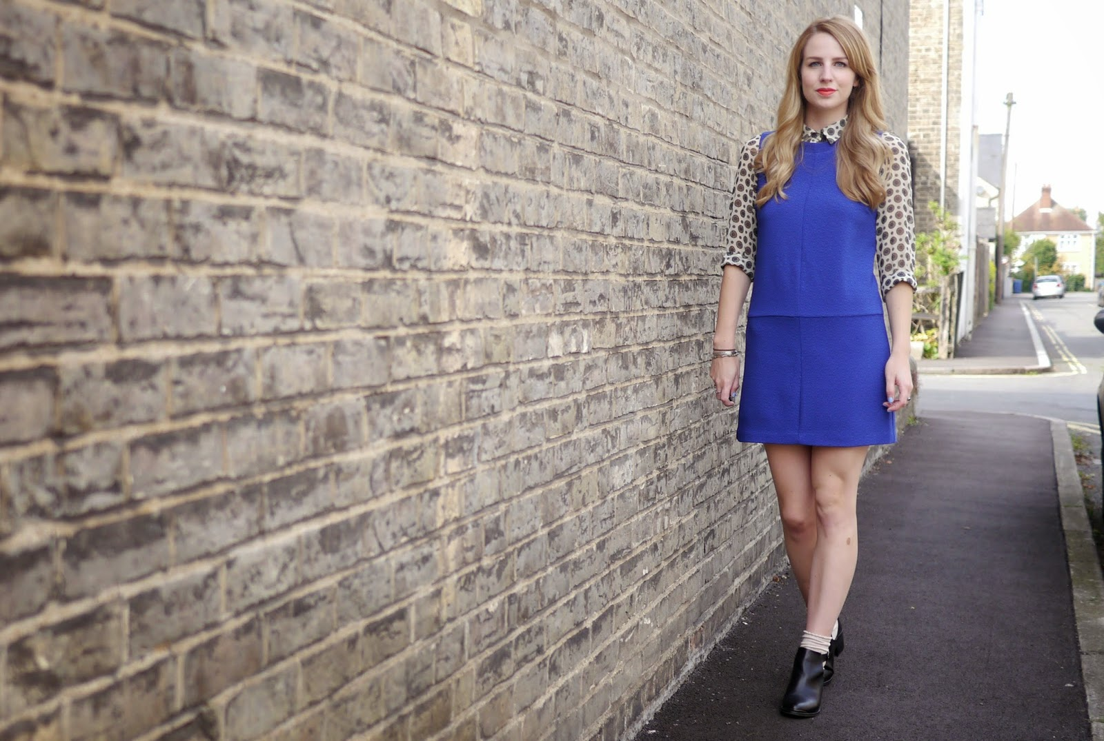 New Look Blue High Neck 60s Shift Dress, Zara Patterned Shirt & Topshop Cut Out Buckle Ankle Boots