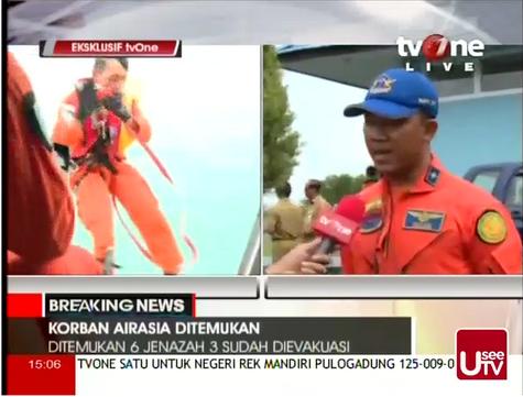 TVONE, tvone indonesia,pesawat air asia ditemui,korban pesawat QZ8501 air asia, penemuan bangkai pesawat air asia.