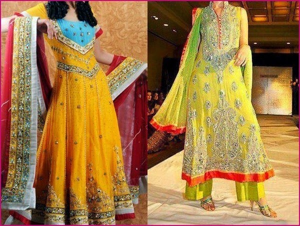 Mehndi Function Dresses : Pakistani mehndi dresses designs for