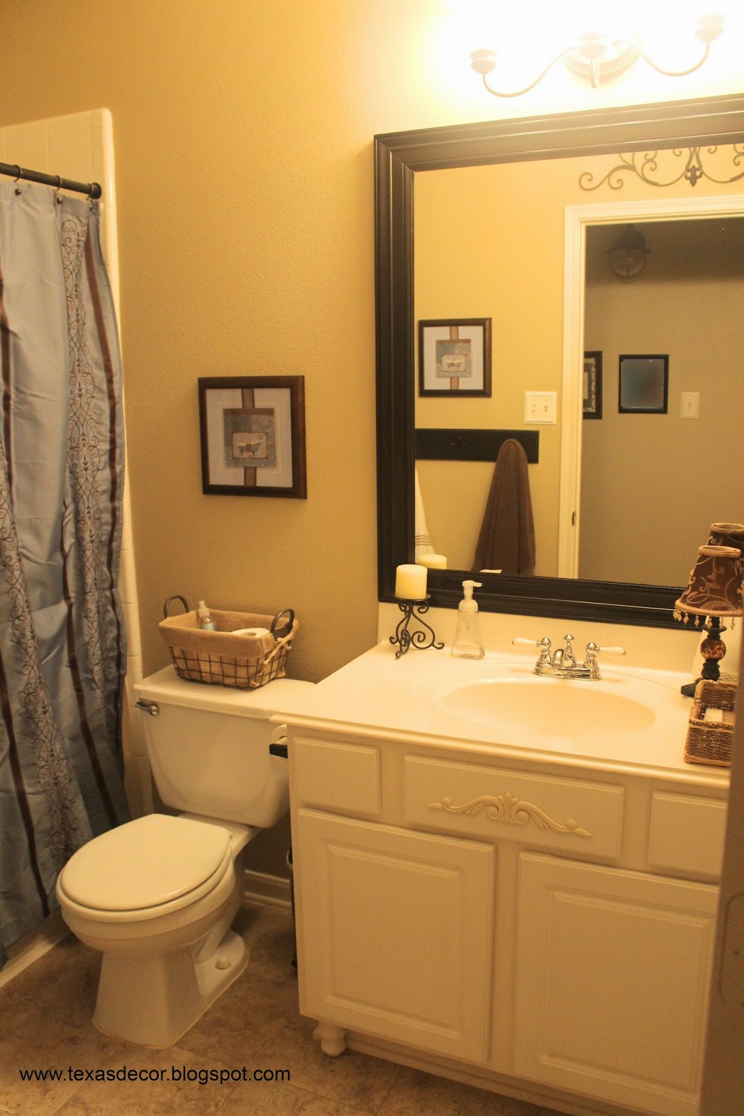 blue and brown bathroom