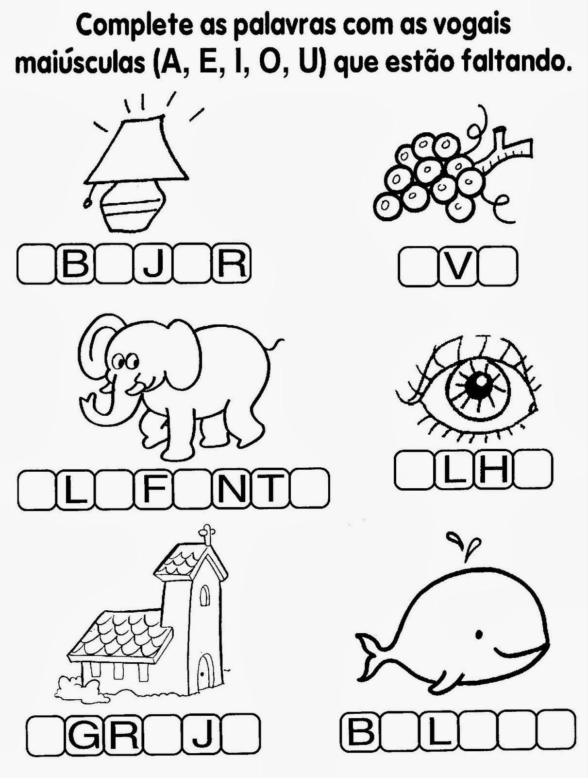 Atividades com vogais - Complete com vogais