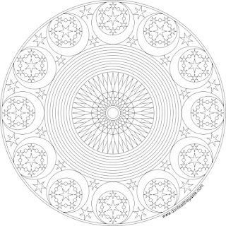 Adult coloring page- celestial mandala available in JPG and transparent PNG format